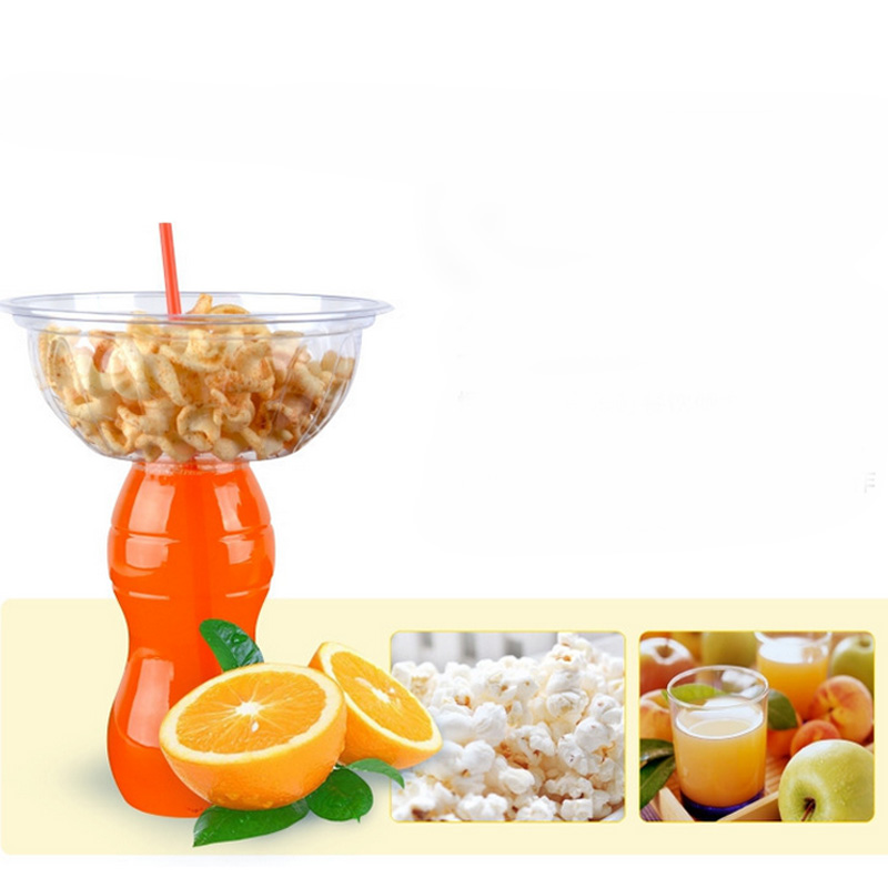 12OZ 16OZ Clear Plastic Drinking Bottle with Bowl 2 in 1 Juice Popcorn Cup Creative Party