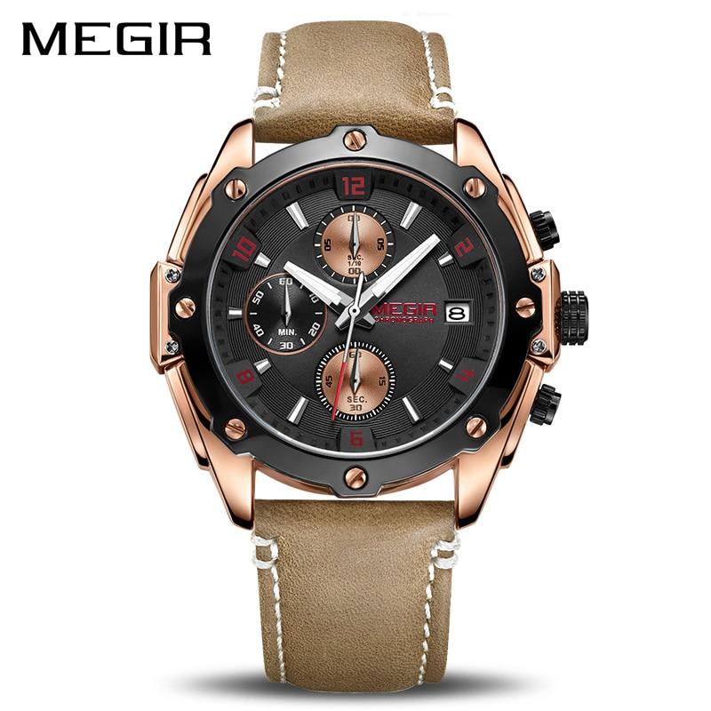 MEGIR Creative Sport Watch Men Relogio Masculino Fashion Chronograph Quartz Wrist Watches Clock Hour Leather Military Army Watch недорго, оригинальная цена