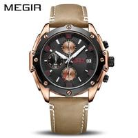 MEGIR Creative Sport Watch Men Relogio Masculino Fashion Chronograph Quartz Wrist Watches Clock Hour Leather Military Army Watch