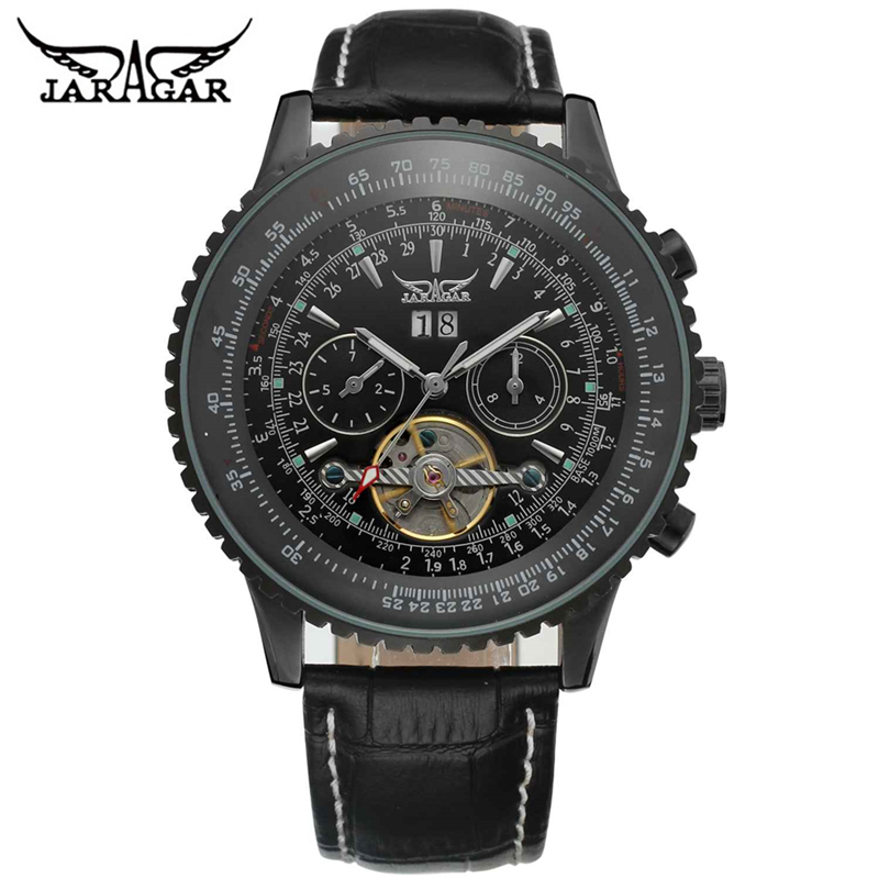 Jaragar Aviator Elegant Black Tourbillon Design Scale Dial Men Leather Watches Top Brand Luxury Automatic Mechanical Wristwatch jaragar top brand tourbillon automatic mechanical diamond dial clock wtaches men classic luxury business leather wristwatch uhr