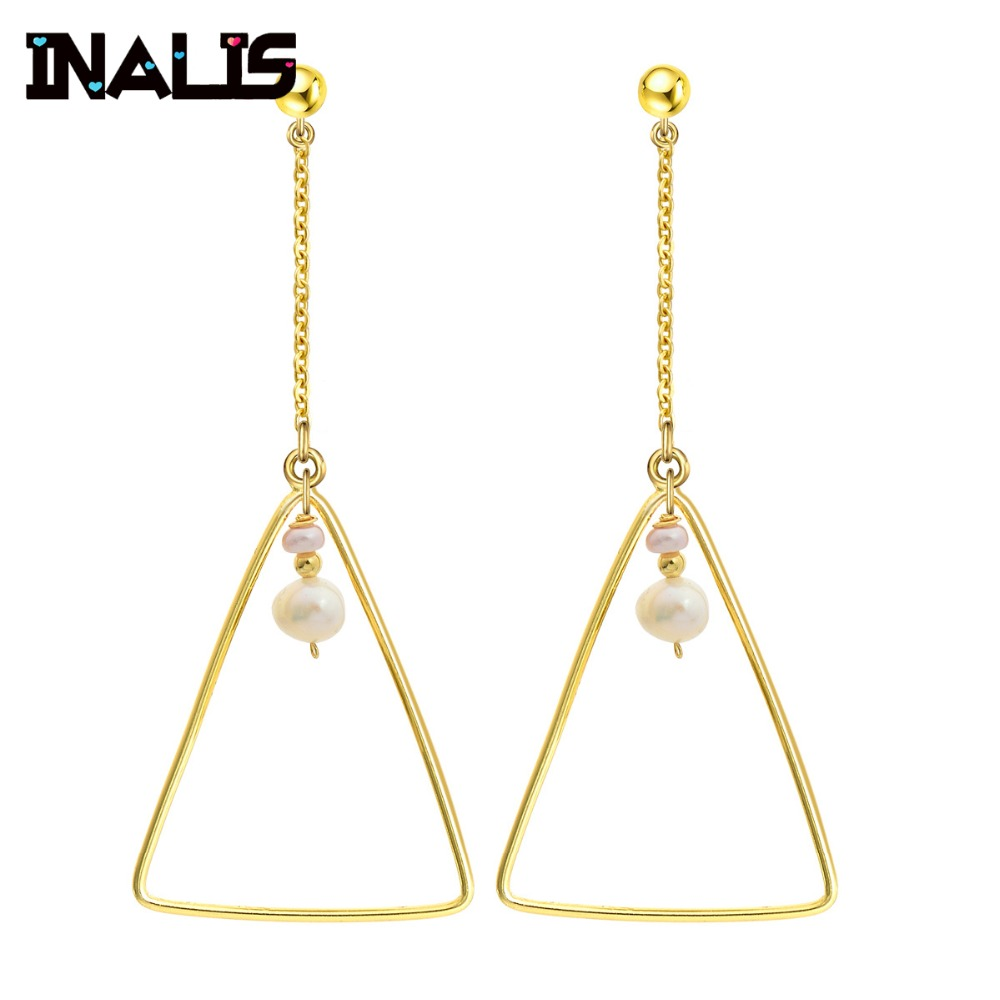 INALIS New Fashion Simple Design Big Long Drop Earrings 925 Sterling Silver Natural Pearl Triangle Dangle Brincos for Women Gift