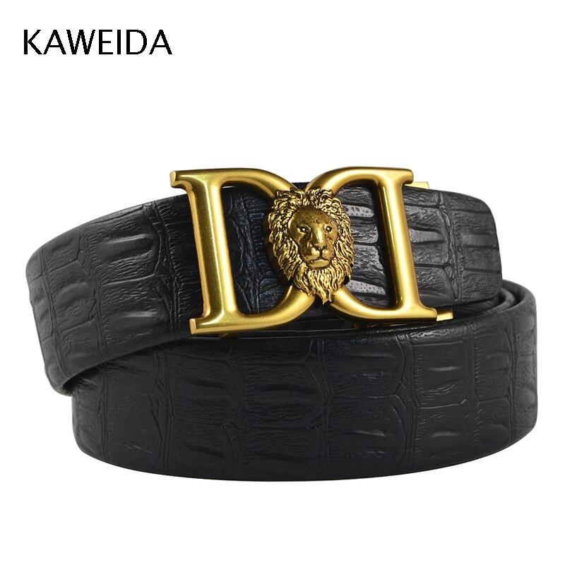 6998974ed47 KAWEIDA 2018 Designer Belts High Quality Men Fashion Luxury Lion Automatic  Buckle Leather Waist Belt for