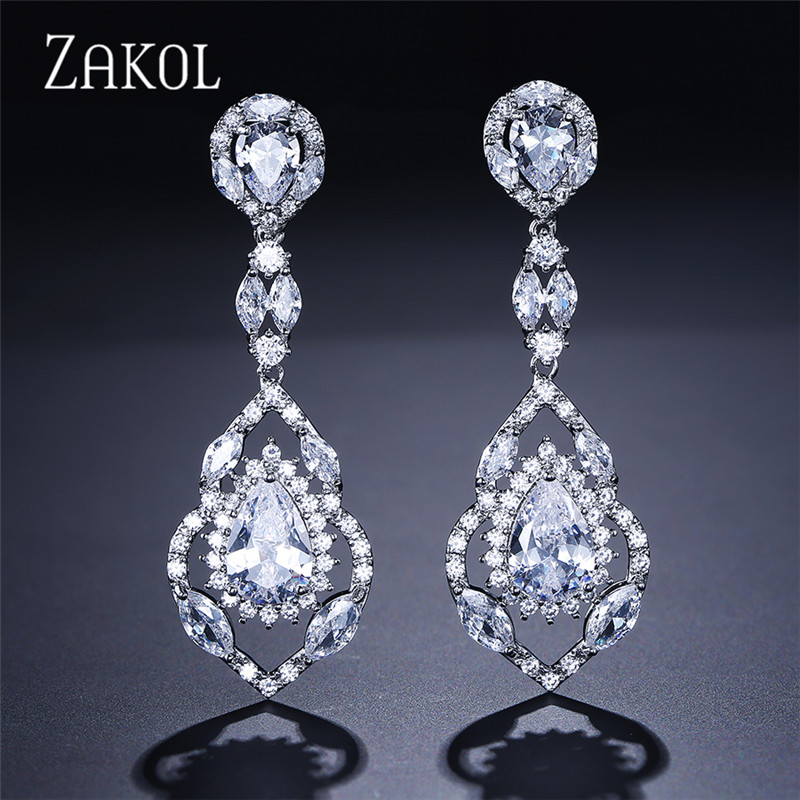 ZAKOL Luxury Sliver Color Hollow Out Jewelry Pear Zirconia Exquisite Dangle Earrings For Women Pageant FSEP165 pair of chic faux pearl hollow out earrings for women