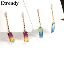 Mixed Color Crystal Long Earrings For Women 2019 New Rainbow Korean Geometric Party Jewelry