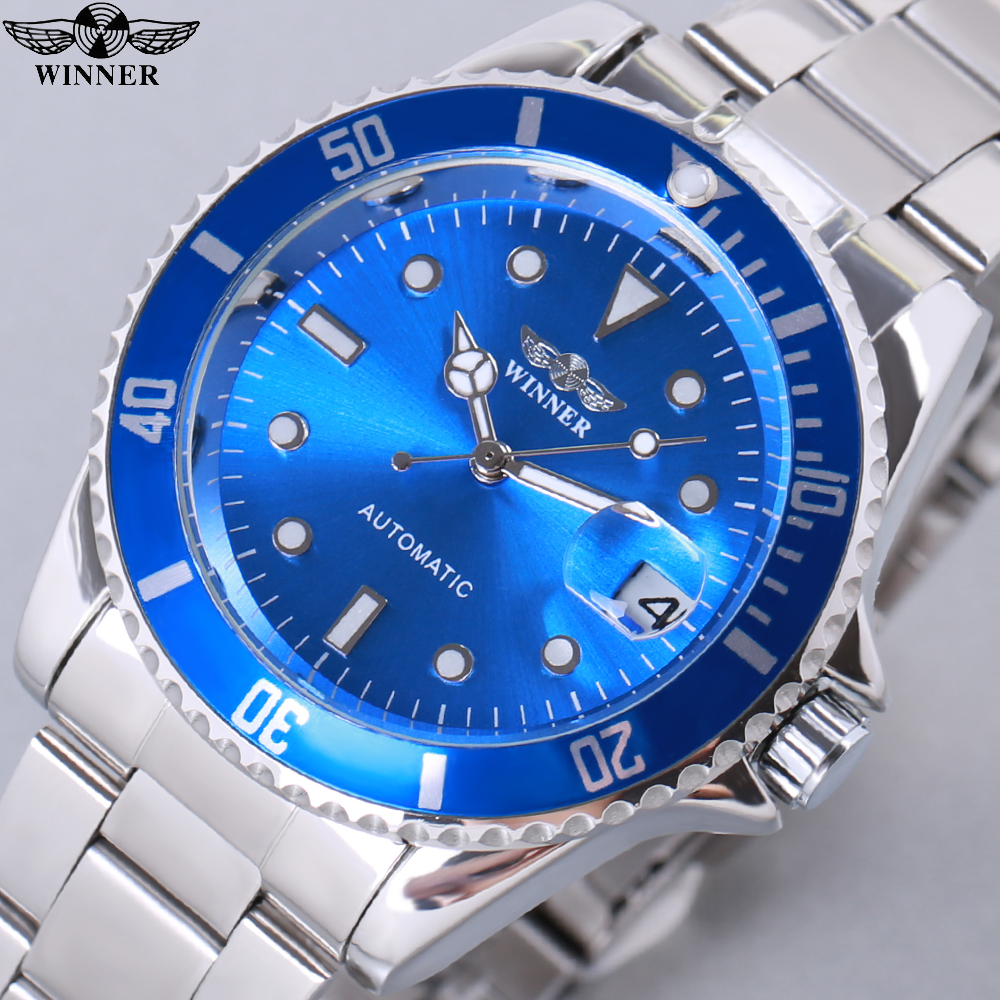 2018 Fashion WINNER Men Luxury Brand Date Display Stainless Steel Watch Automatic Mechanical Wristwatch Gift Box Relogio Releges fashion winner men luxury brand black skeleton stainless steel watch automatic mechanical wristwatches gift box relogio releges