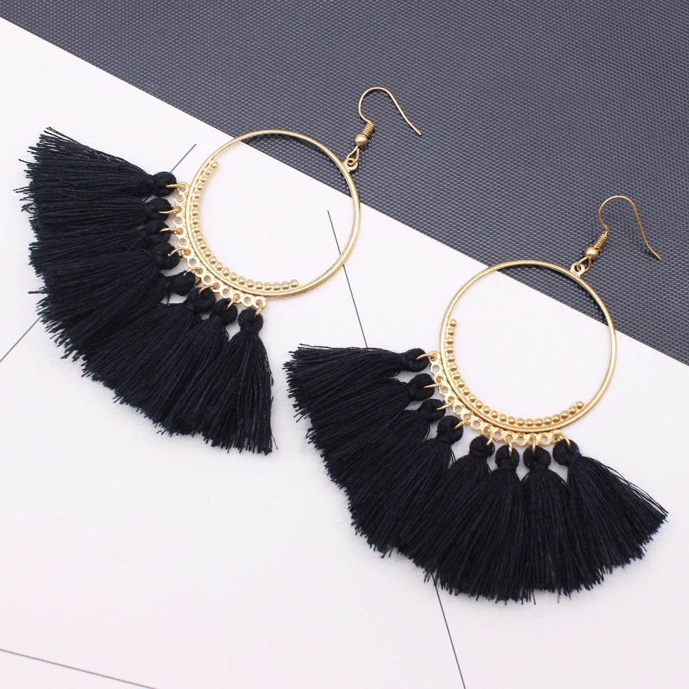19 Colors round dangling pendant Drop earrings woman fabric tassel earring ethnic bohemian fantasy fringed boucles d'oreille 12