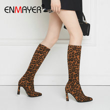 ENMAYER 2019 Winter Women Boots Stretch Faux Suede Slim Boots Mid-Calf Fashion Slip-On Thin Heels Flcok Shoes Women Size 34-43 цены онлайн
