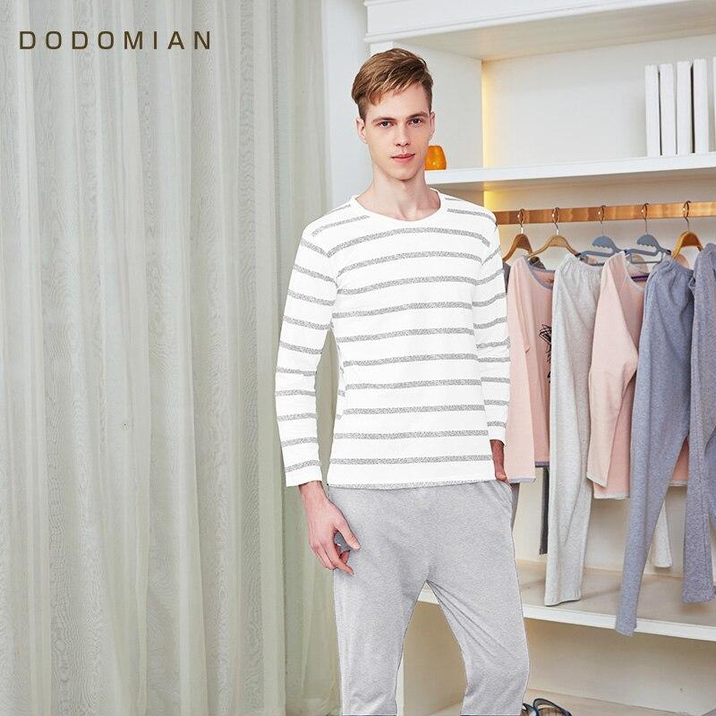 Conjuntos de Pijama Primavera e Outono Longa o Pescoço Masculino Algodão Dormirwear Manga Pulôver Listrado Lounge Conjunto 100%