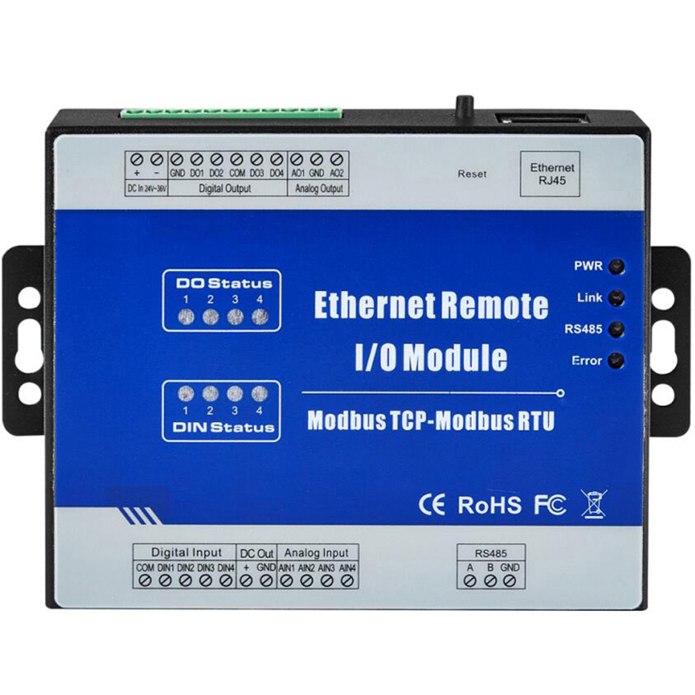 Serial RS485 To TCP/IP Ethernet Modbus TCP Server Client Remote IO Module 4 Relay Outputs Support Web Monitoring Debugging M110T