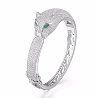GrayBirds Classic Animal Panther Leopard Bangles Platinum Plated Copper With AAA Cubic Zirconia Luxury Jewelry For