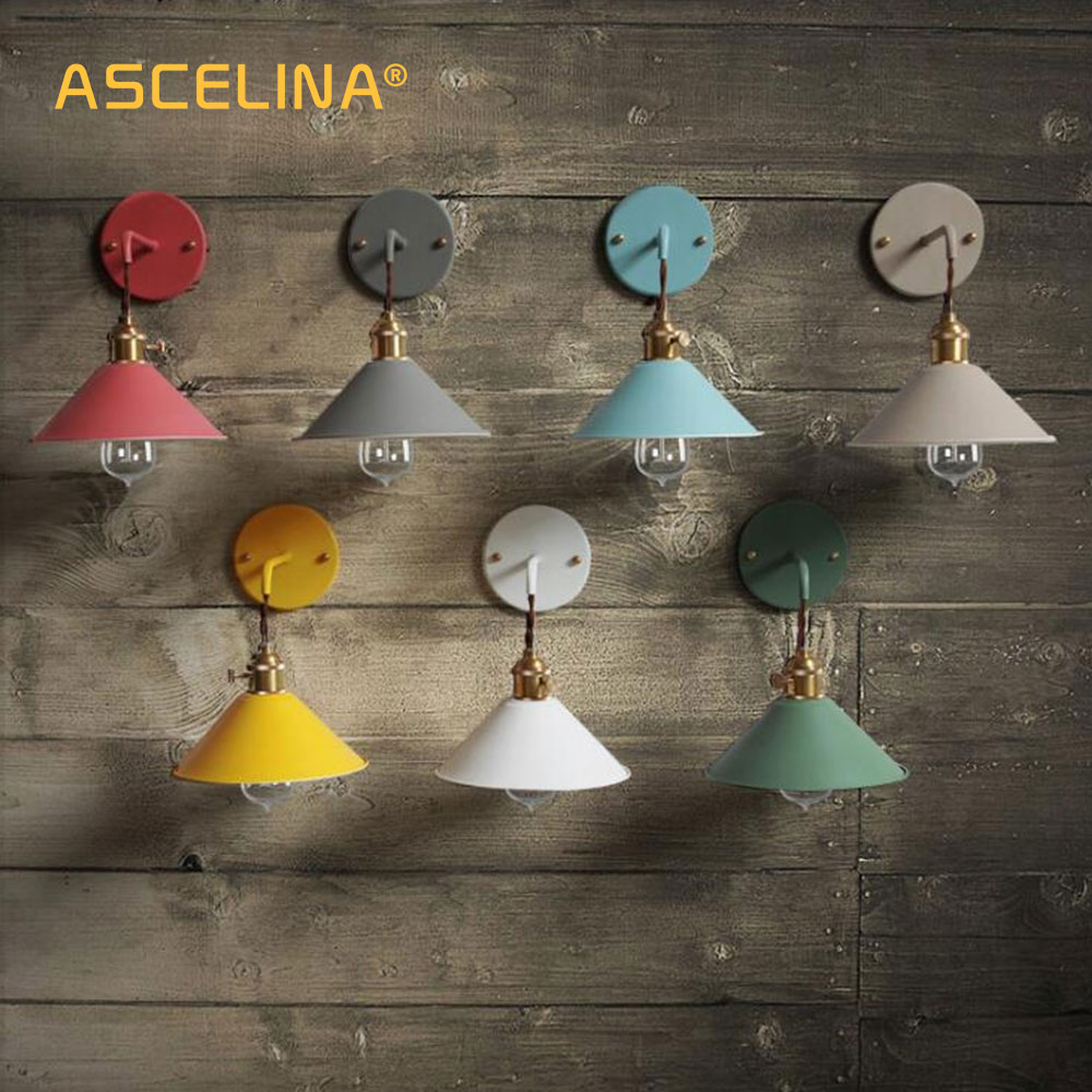 Wall Light Modern wall lamp colorful wall light Loft sconce with switch Lamp American country Living room study bedroom fixtureWall Light Modern wall lamp colorful wall light Loft sconce with switch Lamp American country Living room study bedroom fixture
