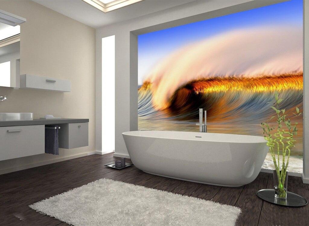 d grandes pegatinas de pared paisaje olas del mar ducha baera arte mural de la pared