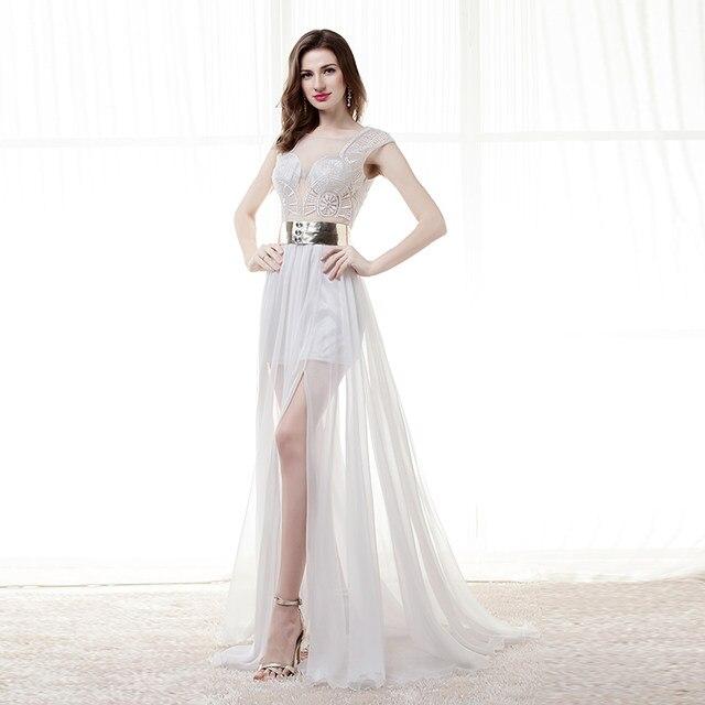 Online Shop Elegant White Evening Gowns Dresses Long 2018 Sheer ...