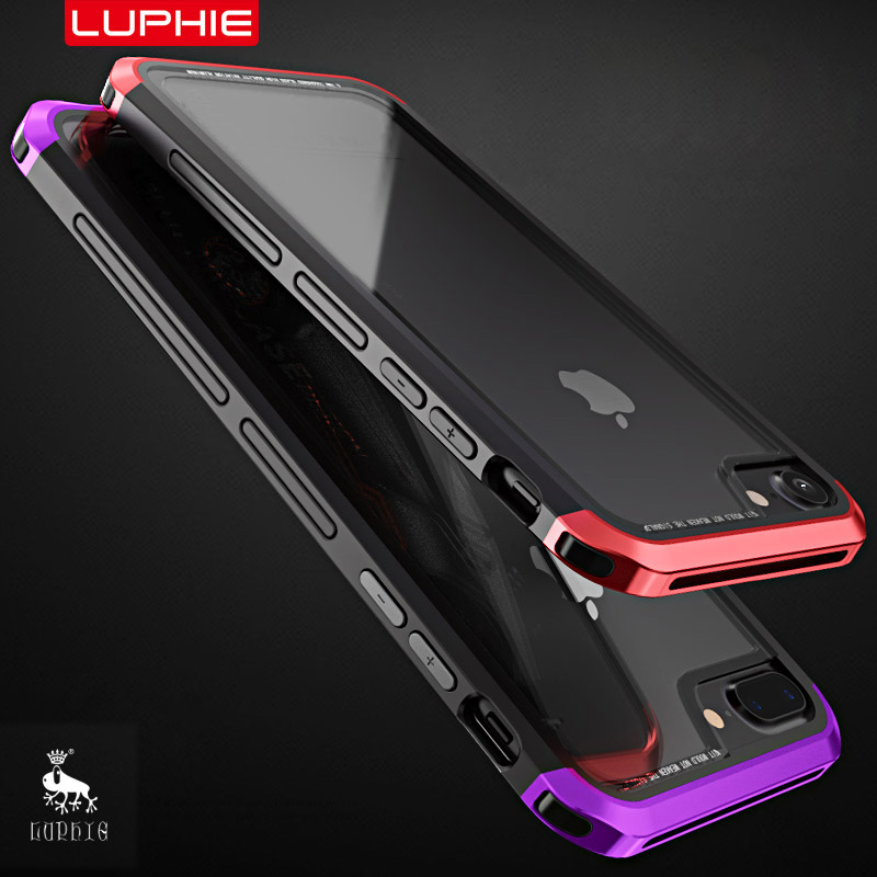 Luphie metal bumper for iPhone 7 case luxury aluminum frame phone case for iphone 6 6s 7 8 plus transparent tempered glass cover