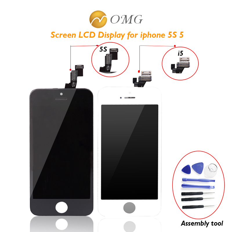 OMG Grade AAA LCD Display For iPhone 5 S 5s Touch Screen With Digitizer Glass Assembly Replacement tool