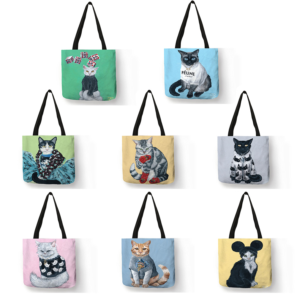 Customized Tote Bag Cartoon Animal Cat Art Linen Handbags For Women Lady Eco Reusable Shopping Bags Traveling