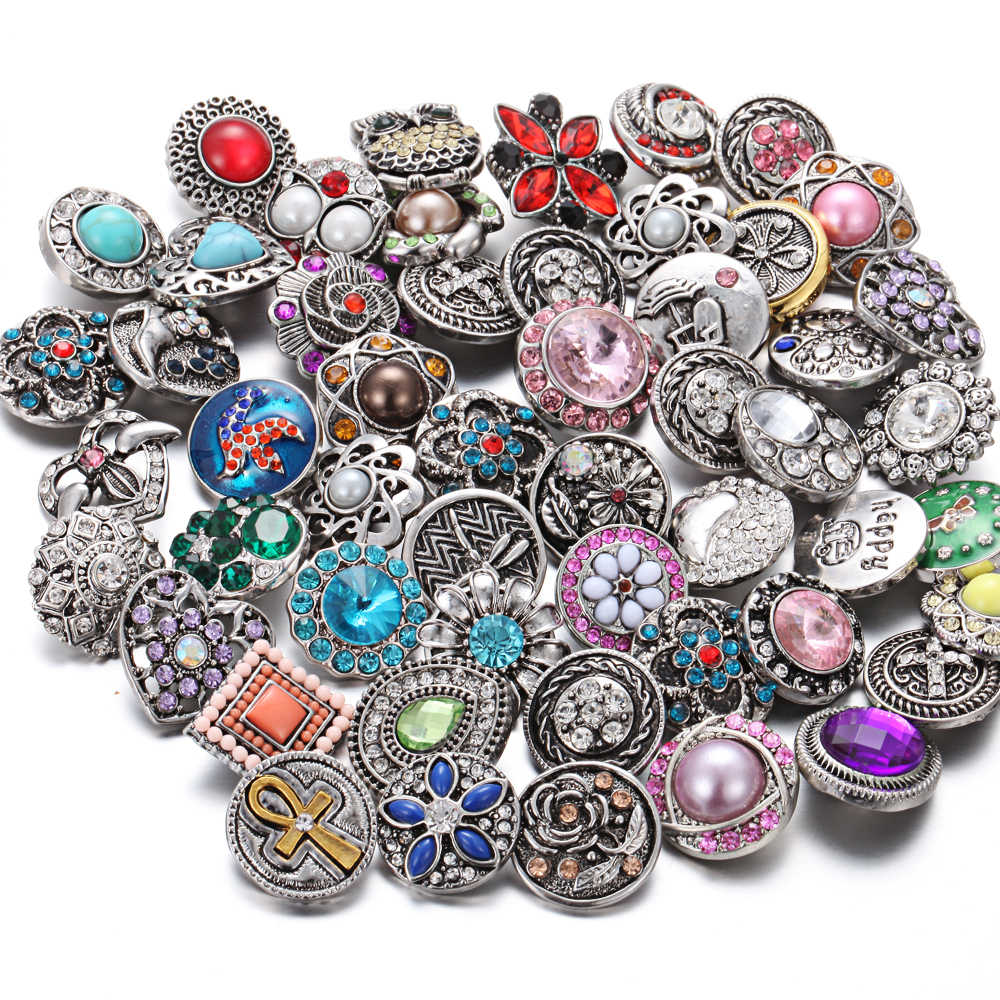 10pcs/lot Wholesale Snap Jewelry Mixed Rhinestone Flower 18mm Snap Buttons Jewelry Fit 18mm Snap Bracelet Necklace Women Jewelry