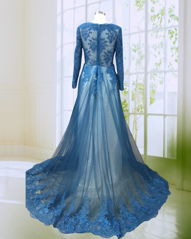 New Design Mermaid Prom Dress with Long Sleeves Vintage Appliqued ...