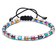 Mcllroy Bracelet men Braided rope Natural Hematite stone beads Mix color Trendy Paired Chain Bracelets & Bangles Men jewelry