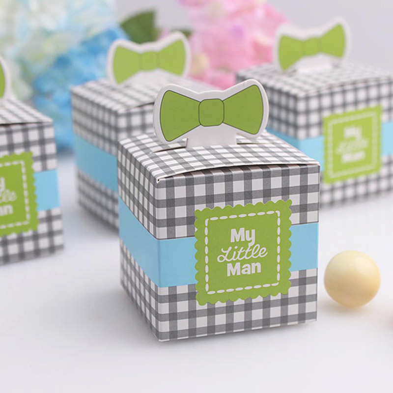 50pcs My little Man Cute Bowknot Birthday Baby Shower Favors Boxes