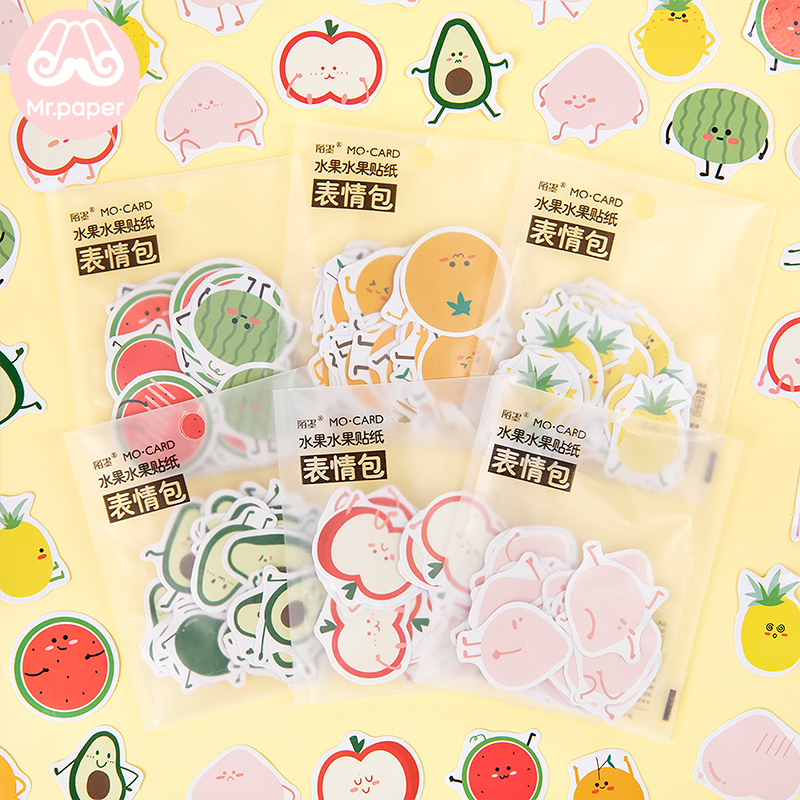 Mr.paper 45Pcs/bag 6 Designs Cute Cartoon Fruits Sticker Peach Pineapple Watermelon Orange Bullet Journal Deco Children Stickers