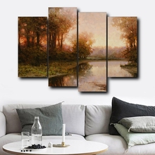 4PCS Autumn Natural Decorative Wall Artwork Abstract Forest Posters and Prints Canvas Painting Home Living Room Decor