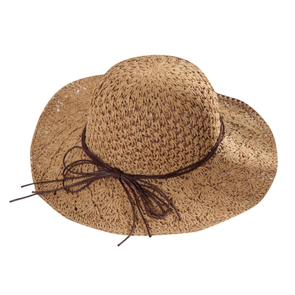 2019 summer sexy women\`s bow grass beach hat striped hood foldable rolled pretty beach hat seaside sports beach hat girl 40J5 (3)