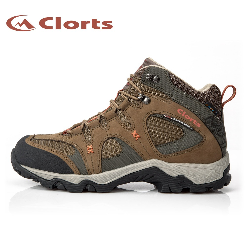 Clorts New Arrival Quality Nubuck Waterproof Hiking Boots Mid-cut Mountain Outdoor Sneakers EVA Hiking Shoes HKM-820A