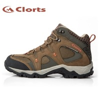 Clorts New Arrival Quality Nubuck Waterproof Hiking Boots Mid cut Mountain Outdoor Sneakers EVA Hiking Shoes HKM 820A