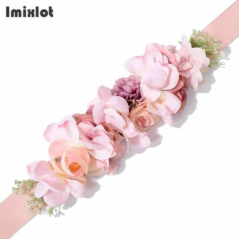 41d9bb8a Nueva moda mujeres niñas cintura cinturones de cinta de cinturón de flores  de la boda de las niñas de cintura para vestido de fiesta Accesorios