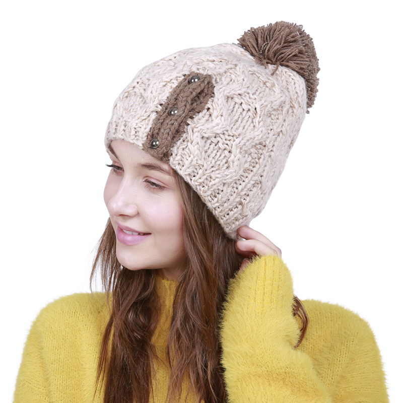 Ladies Knitted Beanie Autumn Winter Cozy Women Pompom Hats Fashion Girls Breathable Crochet Warm Cap 4 Colors