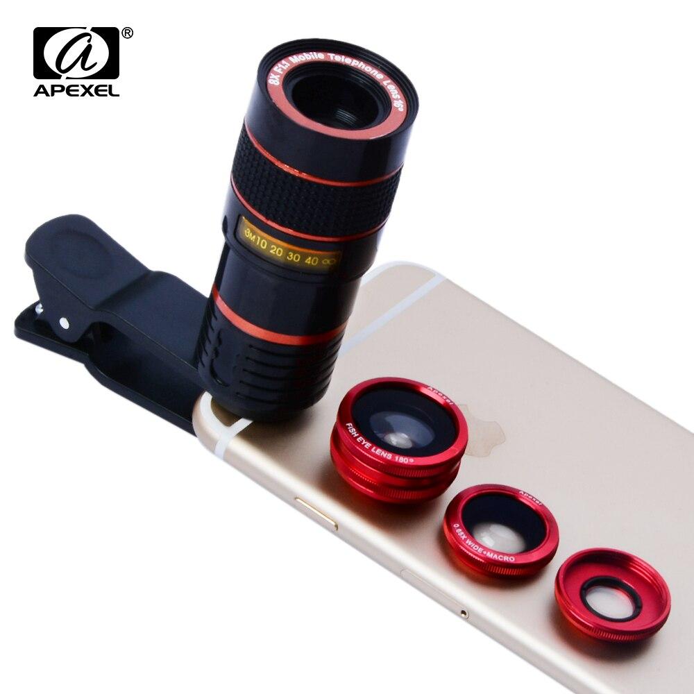 bilder für Universal 8x tele Zoom Telefon Objektiv Tele Fisheye Makro Kamera lens kit für iphone 6 6s plus 5 samsung s7 s6 APL-19CX3