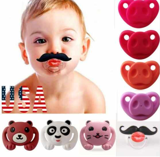 Cute Funny Teeth Beard Mustache Baby Pacifier Orthodontic Dummy Infant Nipple