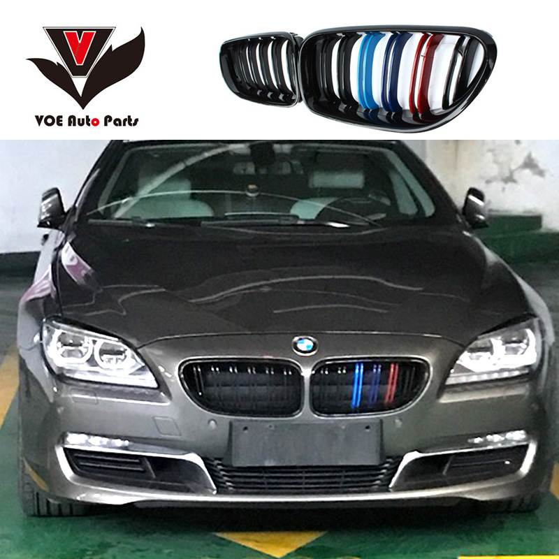 F06 F12 F13 M-style Kidney Front Racing Grill Grille for 2011-2016 BMW 6 Series 630i 640i 650i Matte Black/Gloss Black/ 3-Color 3 series carbon front bumper racing grill grills for bmw f30 f31 standard sport 12 16 320i 325i 330i 340i non m3 style car cover