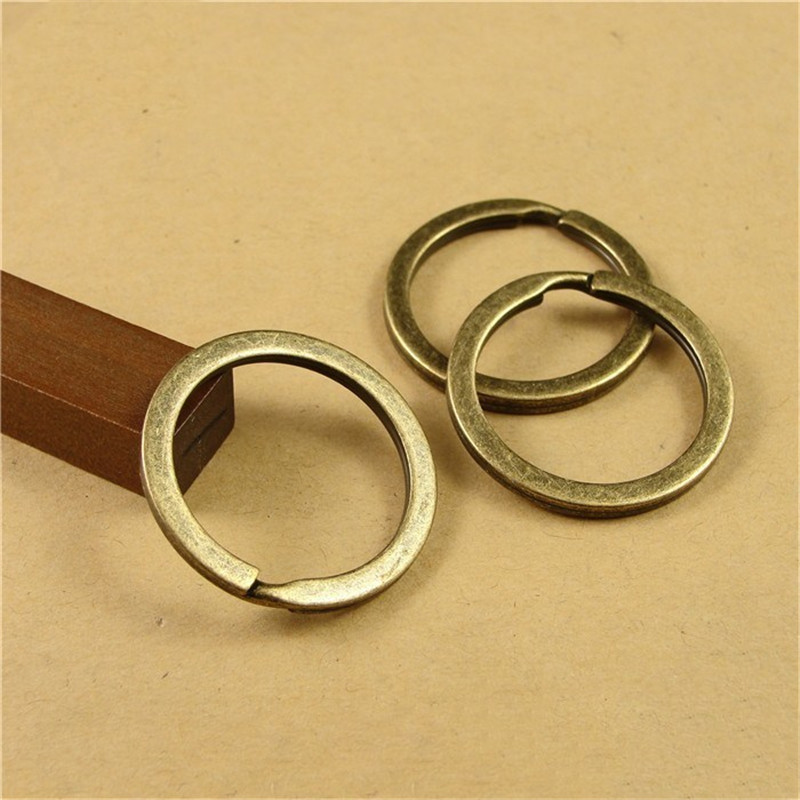20pcs Antique Bronze/Rhodium Keyring Findings 28mm/30mm Keychain Circle  Fit DIY Keychain Ring Circles Accessories