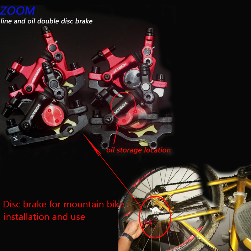 ZOOM Disc Brakes Hydraulic Calipers Mountain MTB bike Front Rear Mechanical pull