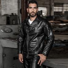 HARLEY ANGEL Fashion Professional motorcycle Genuine Leather Jacket Men Slim Fit Cowskin Men s Biker Jacket