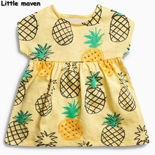 Peu maven 2017 new summer bébé filles robe marque vêtements enfants Coton ananas impression robes S0150