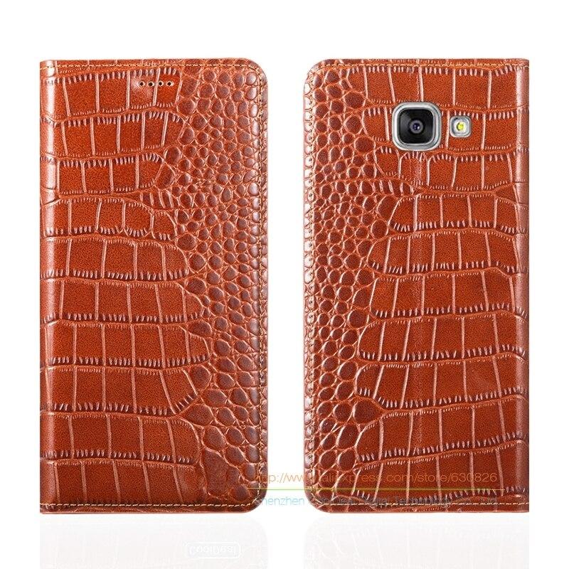 bilder für Krokodil-korn-echtes Ledertasche Für Samsung Galaxy A7 2017 A720 A720F Luxury Phone Cover & Invisible Magnet 1 Karte Slot