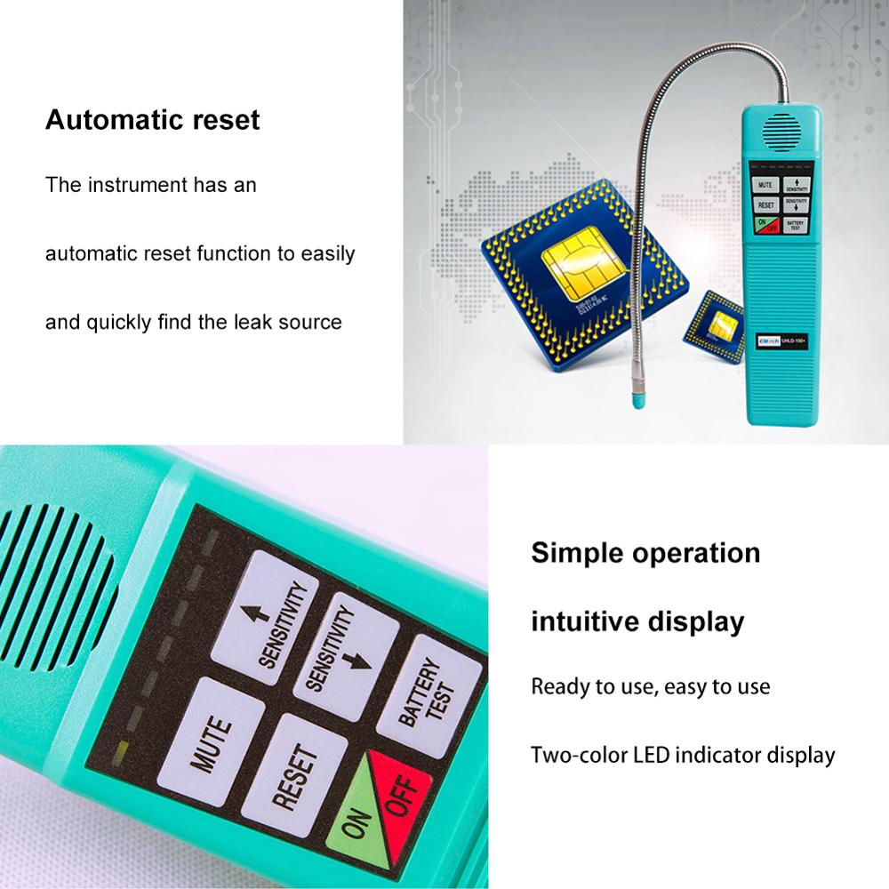 HLD-100+ Halogen Leak Detector Refrigerant Gas Leak Detector with high sensitivity 3g/yr, AC Leak Tester, Corona Sensor