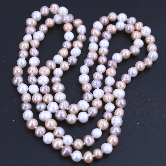 Free Shipping Fashion Long Sweater Necklace Natrual Freshwater Pearls Channeling Irregular Pearl Hot Selling Decoration Necklace