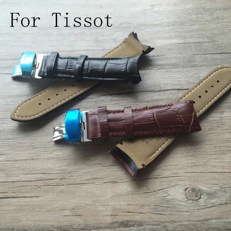 18mm 22mm 24mm Genuine Leather Watchband With Deployment Buckle Folding Clasp,Watch Strap For Tisso t WatchWith LOGO купить недорого в Москве