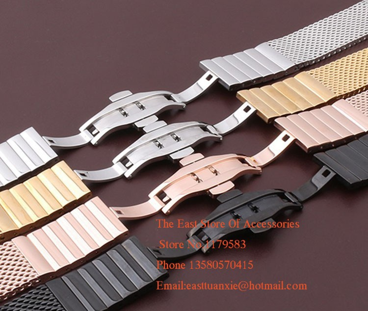 High Quality Black Mesh Stainless steel Watchband metal straps Bracelet width 18mm 20mm 22mm 24MM Shark