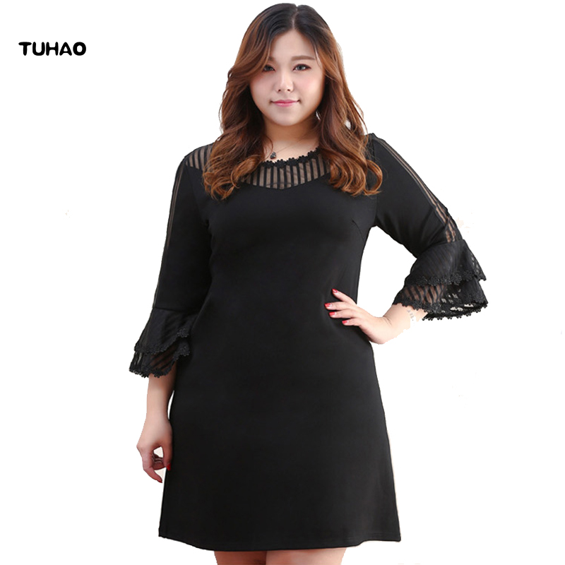 TUHAO Mesh Hollow Out Butterfly Sleeve Plus Size 10XL 8XL 6XL 2018 women s summer office