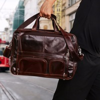 Business Men's Travel Luggage Bag Genuine Leather High Quality Travel Bag Multi Function Weekend Bag Large Duffle Bag Tote