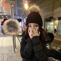 Pompones De Piel Suave verdadero Genuino de Invierno Hat Para la Mujer Chica Pompón Pompón Gorro de Punto Grueso de Piel de zorro de piel de Mapache de Lana Bola sombrero