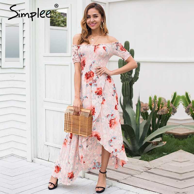 Женское летнее длинное платье Simplee с принтом, асимметричное платье с запахом, открытыми плечами и высокой талией, элегантное платье в стиле бохо, с оборками