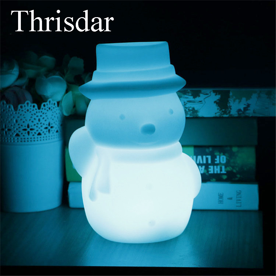 Thrisdar Rechargeable Bedside Table Desk Lamp Cute Snowman RGB LED Night Light Lamp Children's Toys Christmas Birthday Gift free shipping plastic rechargeable battery illuminated christmas led snowman night table lamp led baby night light for gift