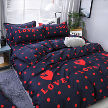 3/4pcs Quality Black Red Heart Dot Printing Textile Bedding Set Include Duvet Cover&Sheets&Pillowcases Comfortable Home Bed Set(China)