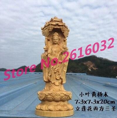 Buis sculpture Guanyin bouddha ornements fait lotus bois sculpture artisanat ornements ameublement Sam West.